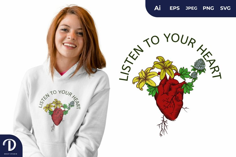 The Blooming Heart for T-Shirt Design example image 1