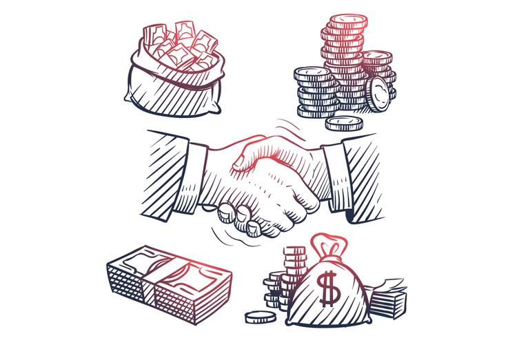 Sketch hand shaking. Doodle dollars packs, money bag, gold c example image 1