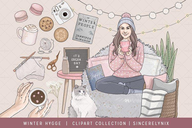Winter Hygge Fashion Girl Clip Art Clipart Cozy Pajama