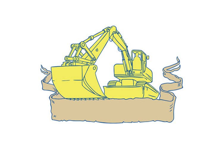 Mechanical Digger Excavator Ribbon Scroll Drawing example image 1