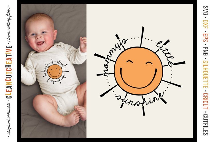 Mommy's Little Sunshine cute round SVG craft file with sun example image 1