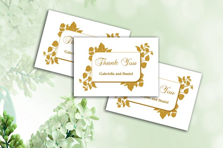 Gold Thank You Card Template, instan download, DAD_09 example image 1