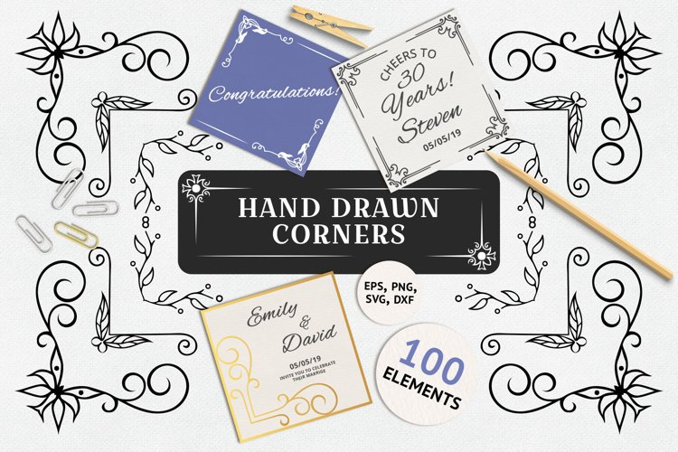 100 Hand Drawn Ornate Corners and Borders example image 1