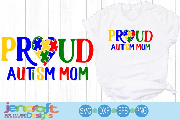 Proud Autism Mom Awareness Puzzle SVG example image 1