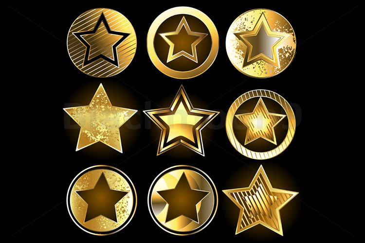 Set of Military Gold Stars example image 1