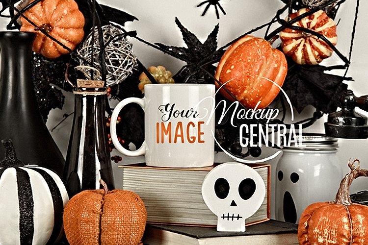 Spooky Halloween Coffee Mug Glass Cup Mockup on Mantel example image 1