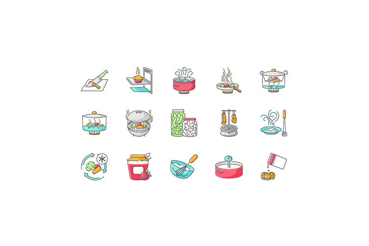 Cooking process RGB color icons set
