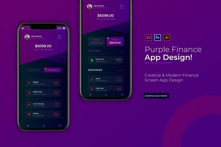 Purple Finance   App Template example image 1