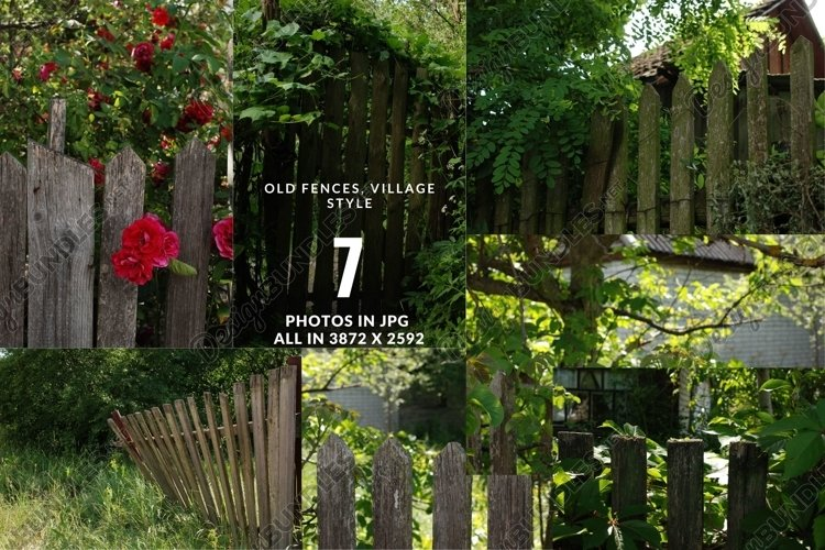 Village fence digital photo backdrop, farm backdrop Vol3 example image 1