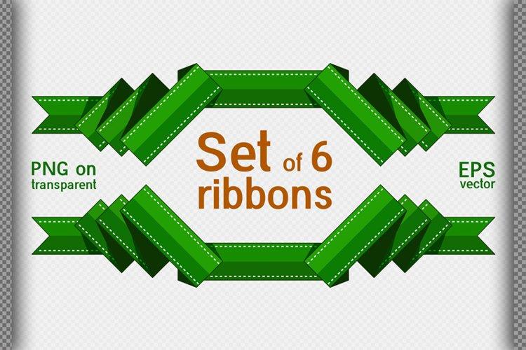Set of 6 decorative ribbons. Flat style. Ribbon frame.