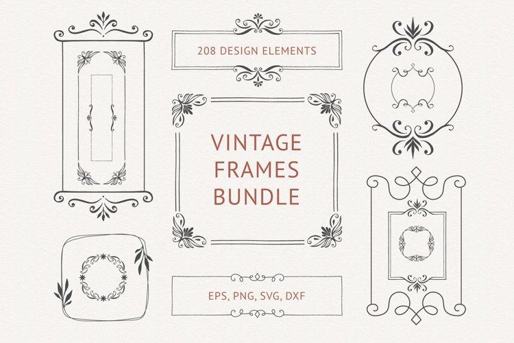 Vintage frames bundle. 208 design elements.