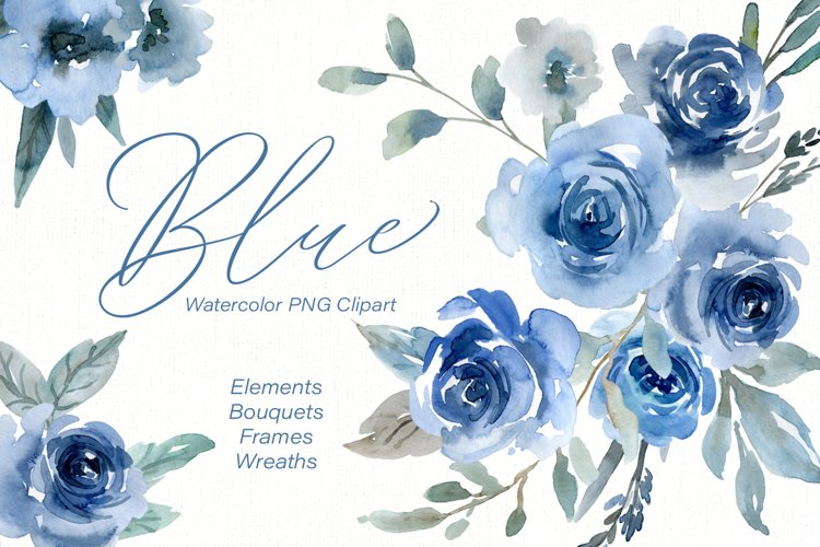 Blue Watercolor Flowers Roses, Bouquets, Frames, Wreaths example image 1