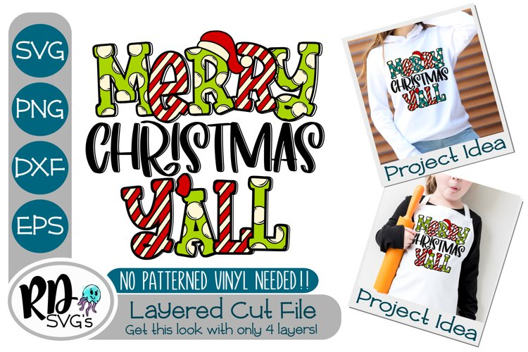 Merry Christmas Yall - A Christmas Layered Cricut Cut File example image 1