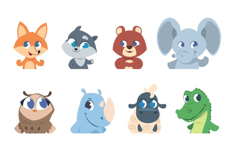Cute baby animals. Cartoon pet and wild forest animal faces, example image 1