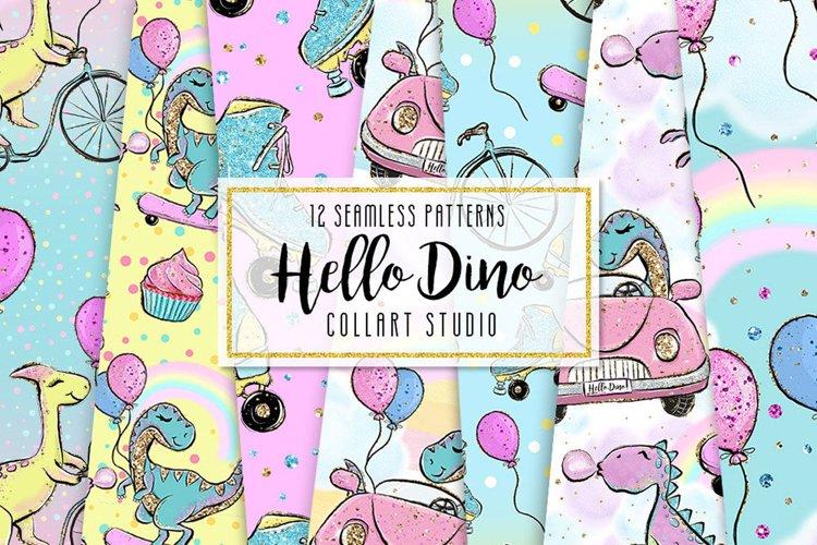 Dinosaur digital paper, Hello Dino Surface Patterns, cute example image 1