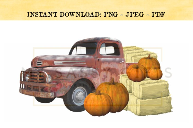 Farm Fresh Pumpkins With Red Truck PNG example image 1