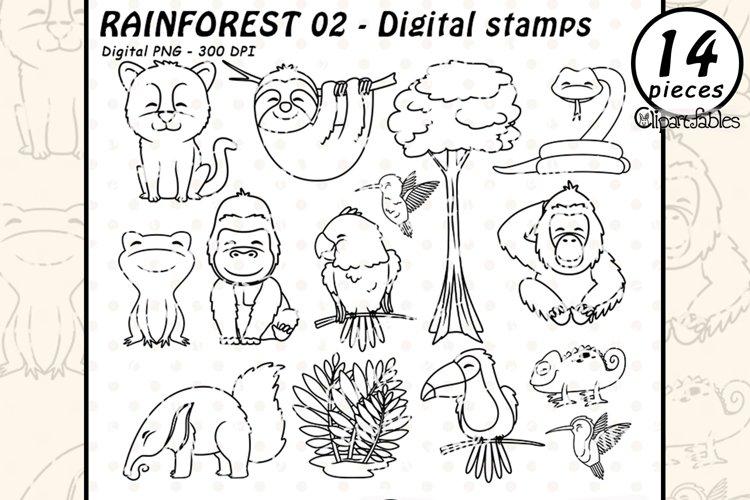 RAINFOREST ANIMALS outline, Wild animals digital stamps