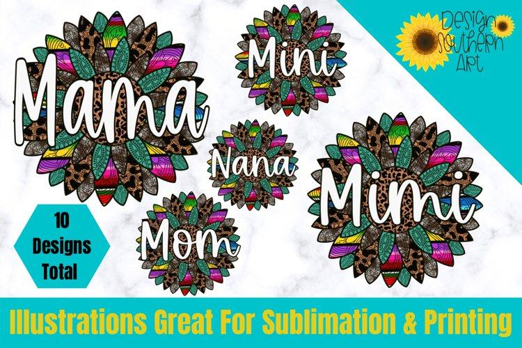 Mandala Sublimation Bundle - PNG - Sunflower - Leopard - Mom