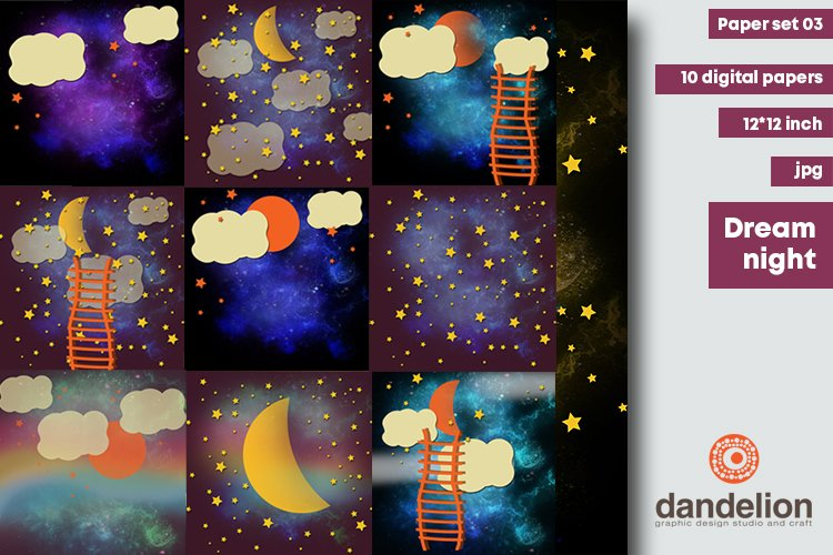 Dream Night - digital papers example image 1