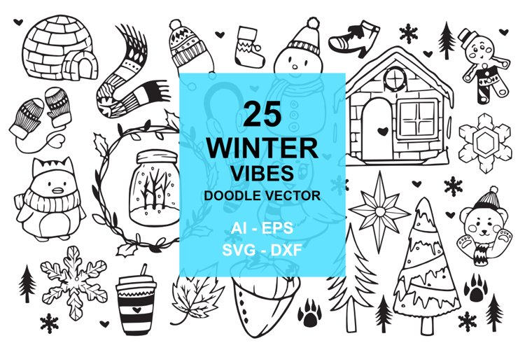 25 Winter Holiday Doodles example image 1
