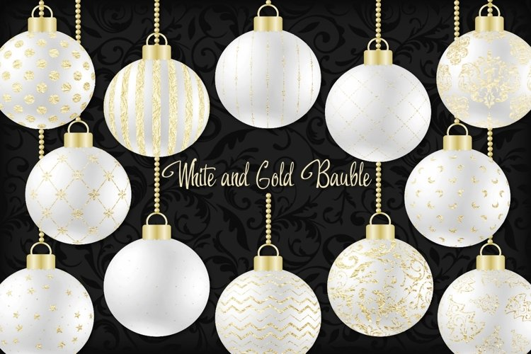 White and Gold Christmas Bauble