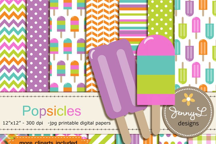 Popsicle Digital Paper and Popsicle Clipart, Summer Ice Sweet Food example image 1