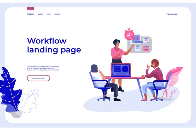 Workflow landing page. Office people team interacting with b example image 1