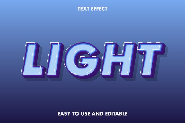 Light text effect. easy to use and editable. premium vector example image 1