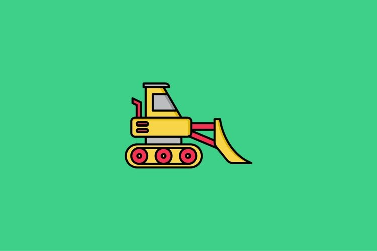 bulldozer filled outline Icon. construction and tool vector example image 1