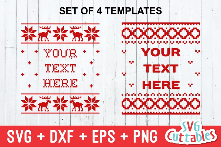 Christmas SVG | Christmas Sweater designs set of 4 | Shirt example image 1