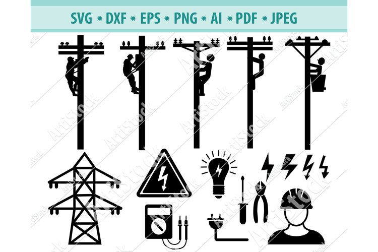 Electrical Lineman Svg, Electrician Png, Lineman Eps, Dxf example image 1
