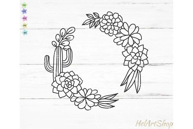 Cactus frame svg, succulent wreath svg, cactus border svg example image 1