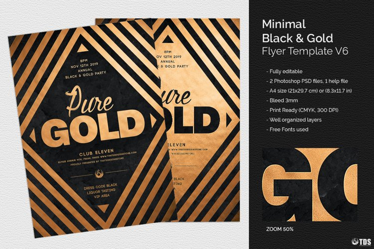 Minimal Black and Gold Flyer Template V6 example image 1