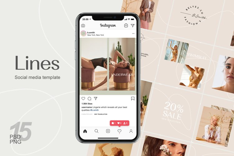 Instagram puzzle template - Lines example image 1