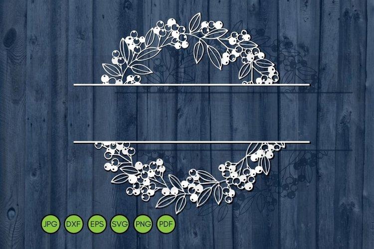 Split Wedding Monogram Svg Floral Frame SVG Family name sign example image 1