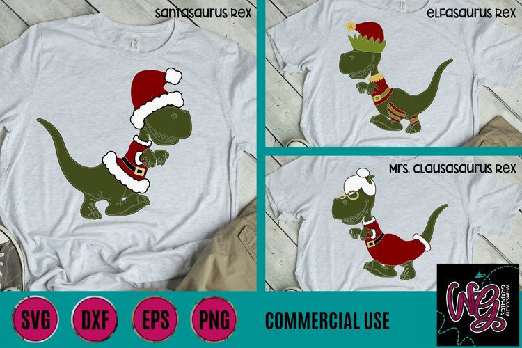 Santasaurus Mrs. Clausasaurus Elfasaurus Mini Bundle SVG DXF
