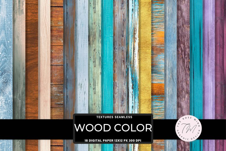 Color Wood seamless digital paper, rustic wood example image 1