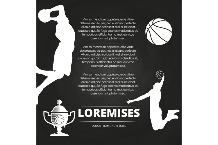 Basketball tournament background with athlete silhouettes, example image 1