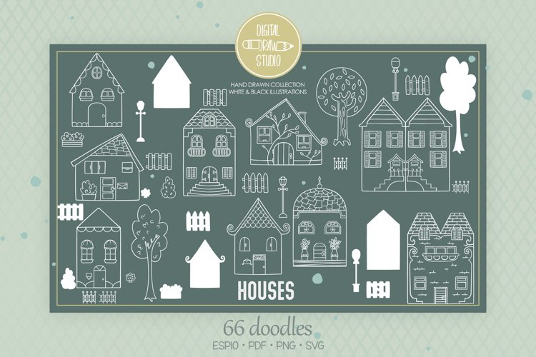 House White Doodles, Home, City Building, Cottage, Tree