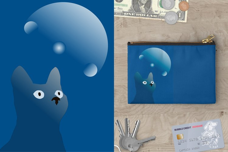 Blue cat and magic moon