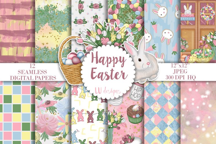 Easter Digital Papers, Easter Seamless Pattern, Spring Paper