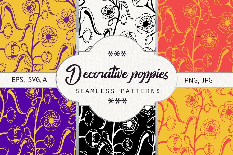 Decorative poppies. Seamless pattern example image 1