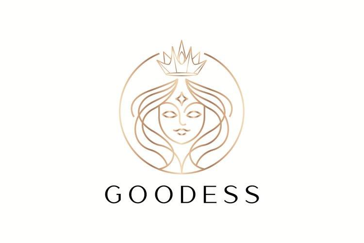 beautiful goddess outline vector logo design example image 1