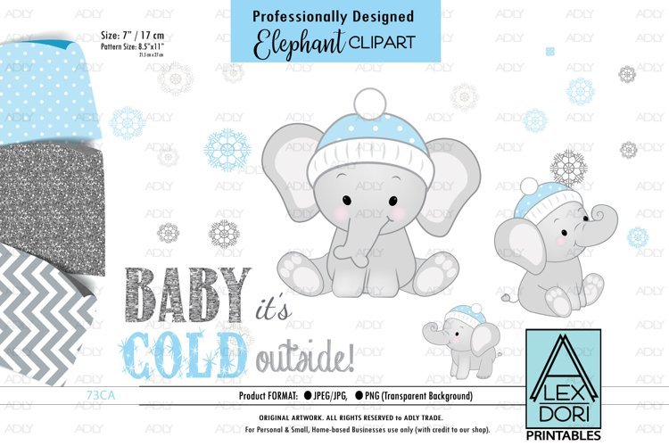 Winter BAbay Elephant, Baby Boy Shower PNG, ClipArt example image 1
