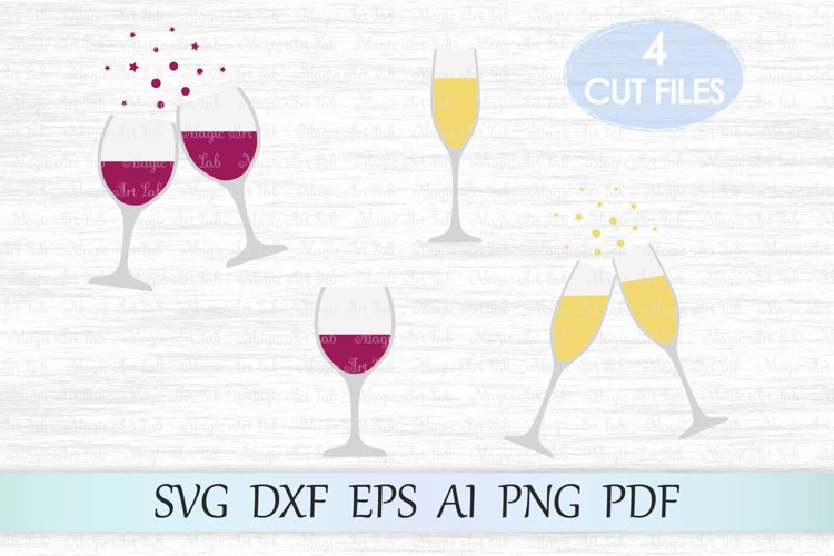Champagne svg file, Red Wine Svg, Wine glass svg file, Xmas example image 1