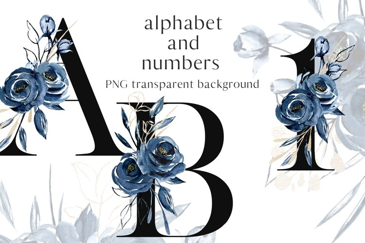 Alphabet, letters and numbers with watercolor blue flowers example image 1
