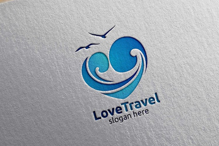 Travel and Tourism Logo with Love, Sea, and Beach