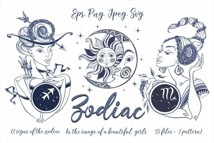 Zodiac. Beautiful girls in the zodiac signs. Digital clipart example image 1