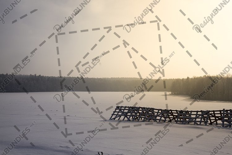 Agricultural field during sunset in the winter season example image 1
