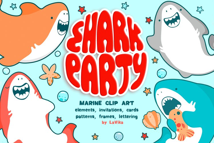Shark Party / Cute Underwater World example image 1